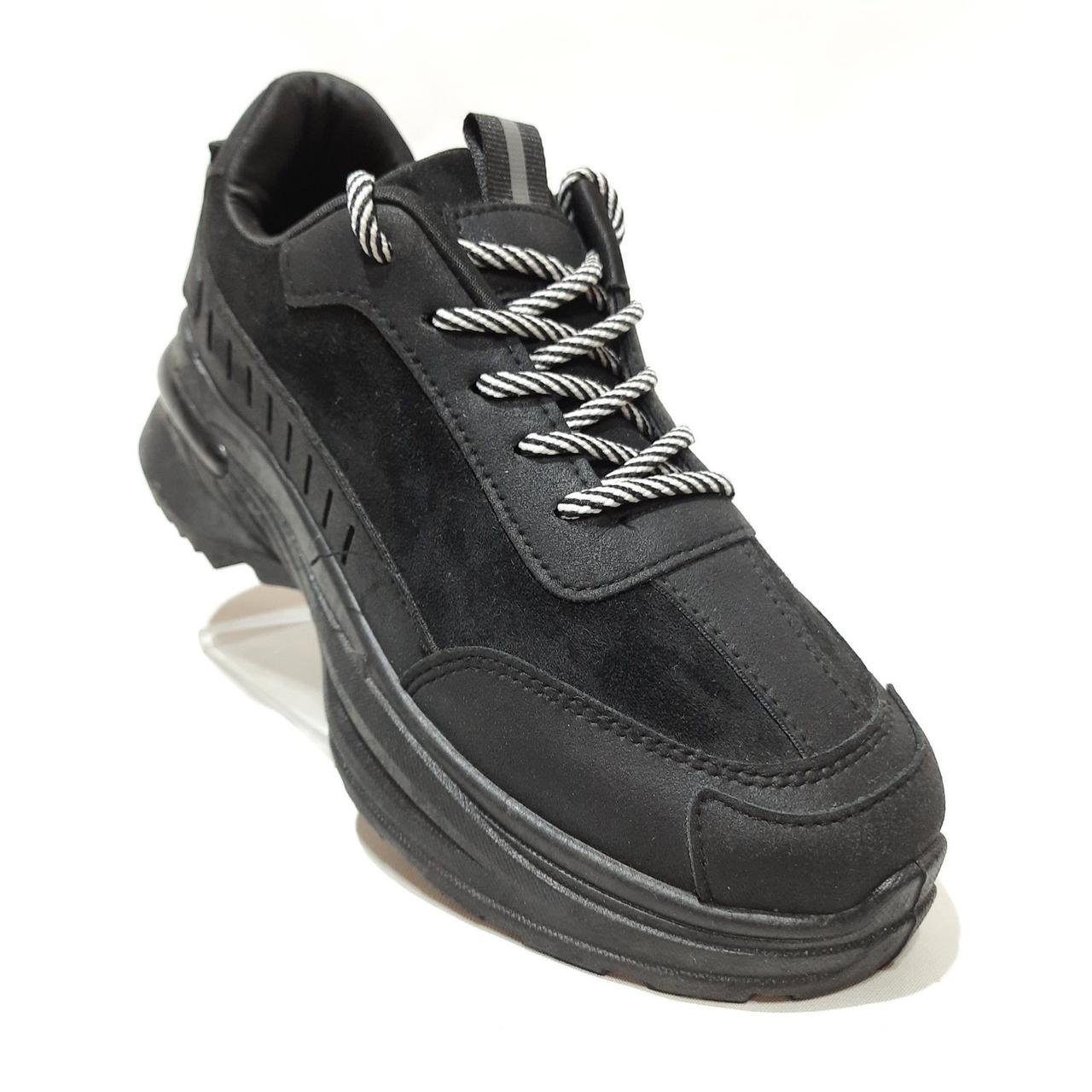 38 р. Жіночі кросівки весняні з еко-шкіри Чорні Остання пара