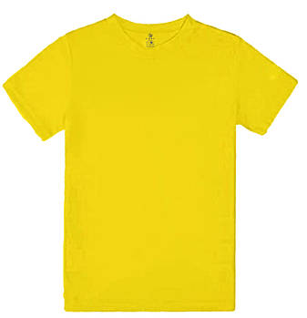 Футболка однотонная детская, цвет желтый, круглая горловина