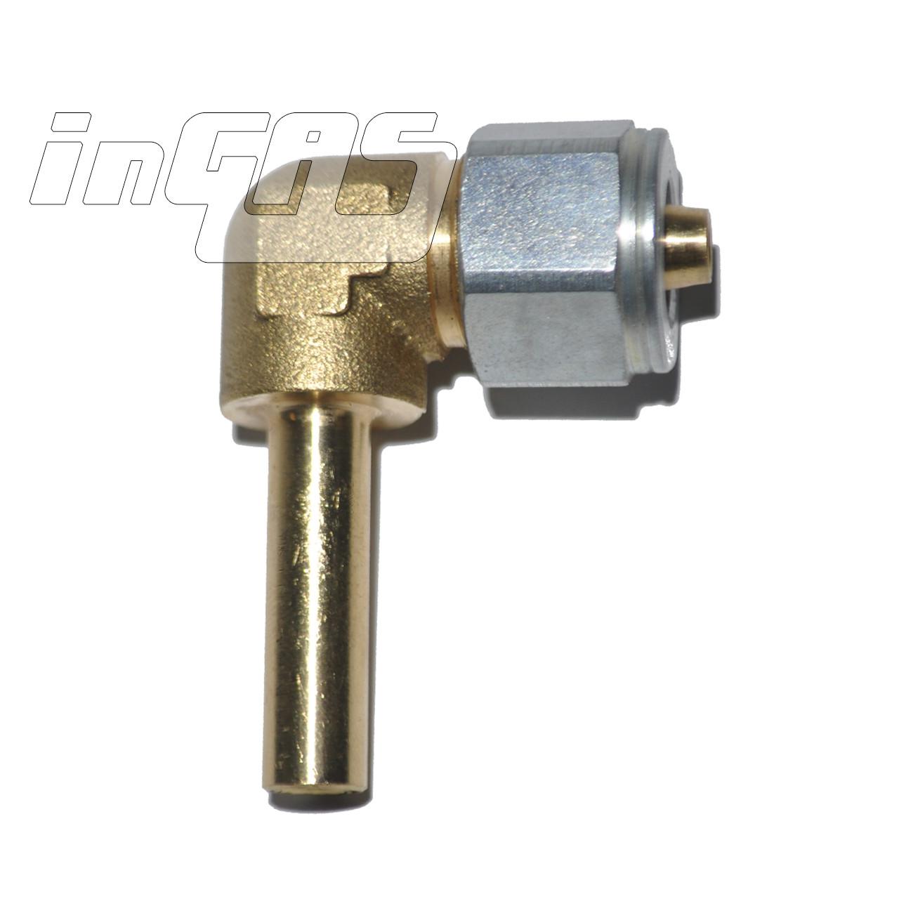 Переходник соединительный угловой+гайка+ниппель разрезной для термопластиковой трубки D6, FARO (Тип Rail, Eme
