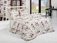 Трикотажное постельное бельё с простыней на резинке ACELYA Bonita коричневая