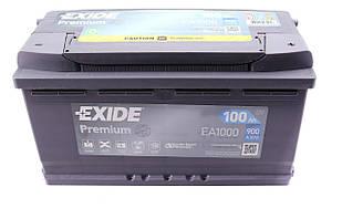 Аккумуляторная батарея 100Ah/900A (353x175x190/+R) Premium EXIDE ( США) EA1000