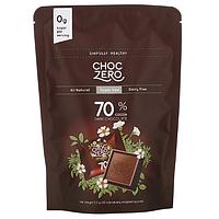 ChocZero, 70% Cocoa Dark Chocolate Squares, Sugar Free, 10 Pieces, 3.5 oz Each шоколад для діабетиків