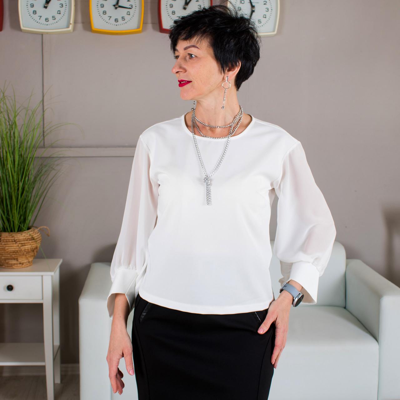 Блуза с шифоновыми рукавами молочная