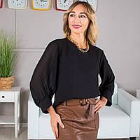 Блуза с шифоновыми рукавами черная