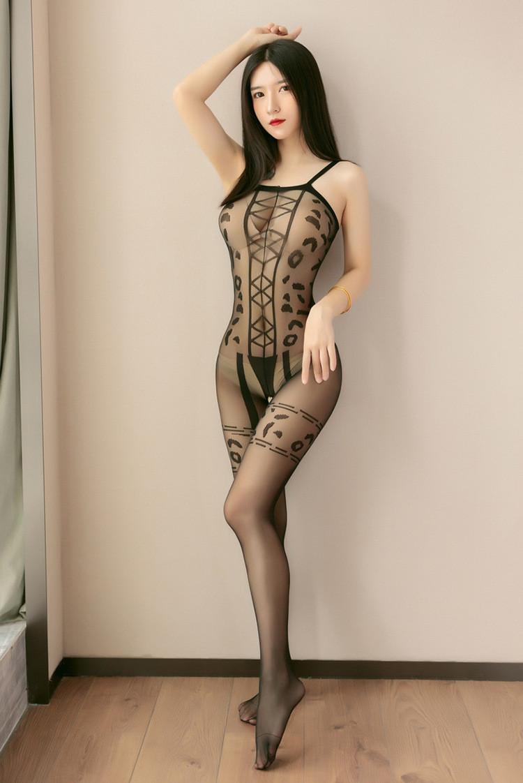 "Эротический комбинезон еротический костюм, сексуальный бодистокинг с чулками"" Комбинезон ""Тигрица"""