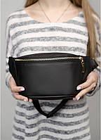Женская черная стильная поясная сумка бананка на плечо и пояс из эко-кожи