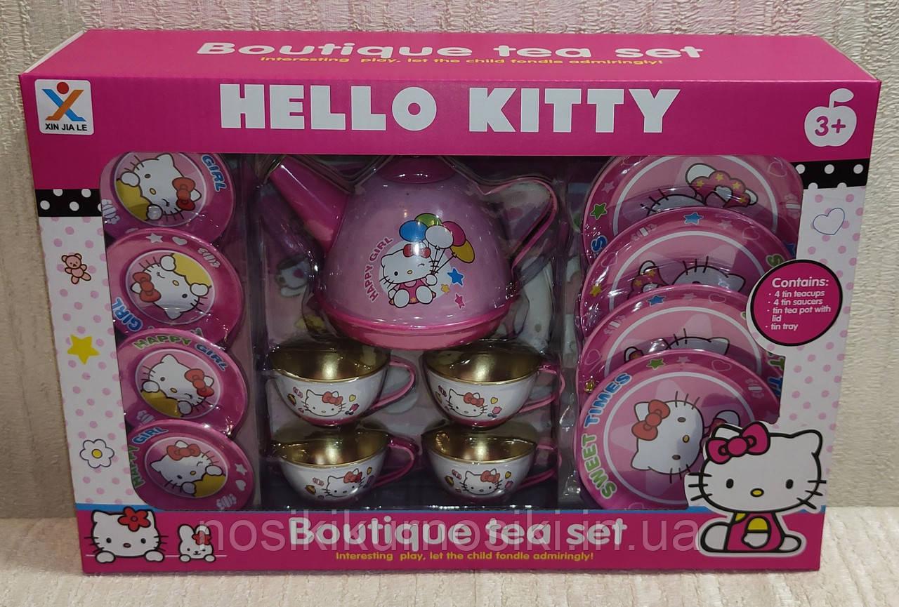 Набор игрушечной металлической посуды 966-A17 Чайный сервиз на 4 персоны, Hello Kitty Хелоу Китти