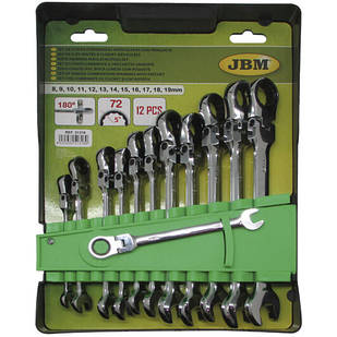 Набор ключей шарнирных комбинированых с трещеткой (12 шт) (8-19mm) JBM (Испания) 51318