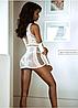 Эротическое женские платье сетка белого цвета с перчатками, фото 2