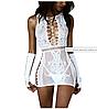 Эротическое женские платье сетка белого цвета с перчатками, фото 4