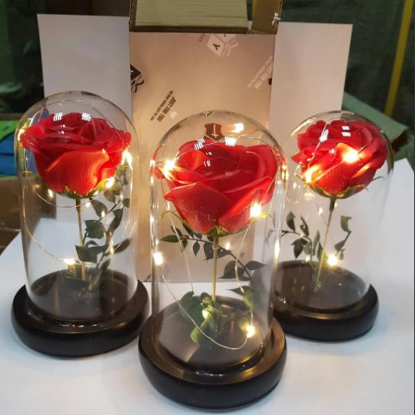 РОЗА В КОЛБІ З LED ПІДСВІЧУВАННЯМ, нічник, вічна троянда червона, 19 СМ Найкращий подарунок!