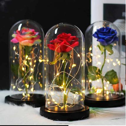 РОЗА В КОЛБІ З LED ПІДСВІЧУВАННЯМ, нічник, вічна троянда червона, 19 СМ Найкращий подарунок!, фото 2