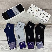 Мужской набор носков Puma, комплект однотонных носков пума 8 шт. в коробке