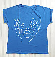 Женская футболка с рисунком, батал, большие размеры 50-54