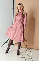 Красивое модное замшевое платье длины миди, интересное женское однотонное розовое платье с длинным рукавом.
