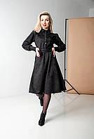 Красивое модное замшевое платье длины миди, интересное женское однотонное черное платье с длинным рукавом.