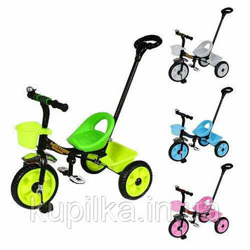 Детский 3-х колесный велосипед с родительской ручкой и багажными корзинами TILLY MOTION T-320 (4 вида)