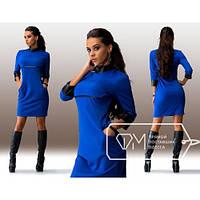 Платье Феррари со вставочками из эко-кожи,скл№11