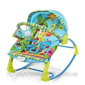 Шезлонг-качалка детский PK-306-4 (1шт) муз, вибро, 2пол.спин.дуга с подвеск,3-х точ.ремн, синий