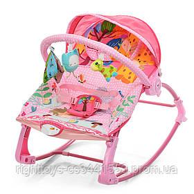 Шезлонг-качалка детский PK-306-8 (1шт) муз, вибро, 2пол.спин.дуга с подвеск,3-х точ.ремн,розовый
