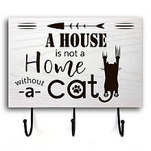 """Дерев'яна вхідна вішалка-табличка """"A house is not a home"""" 20х30 см"""