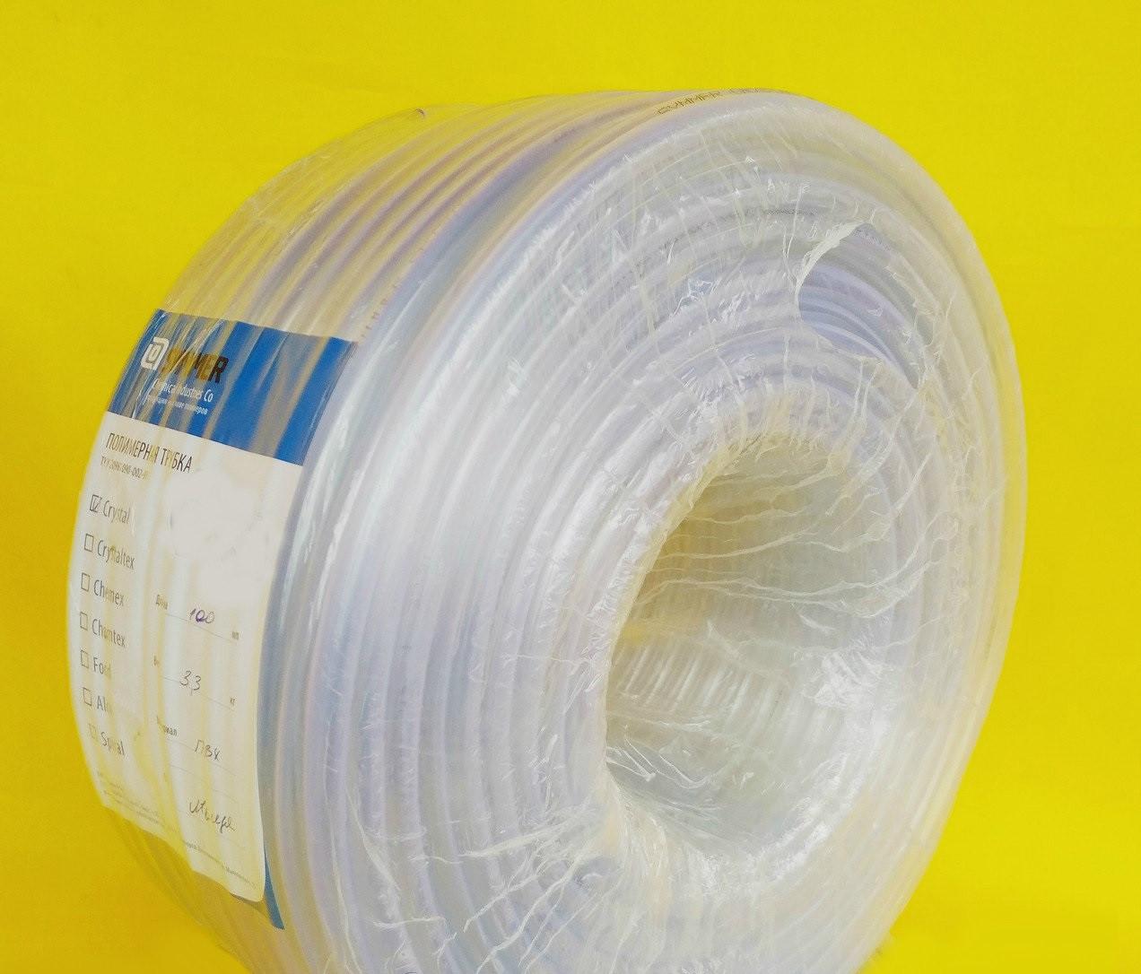"""Шланг харчової ,діаметр 10 мм ,стінка, 2 мм, 100 метрів ,ПВХ ,прозорий """"Crystal-Symmer"""" (Україна)"""