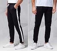 Мужские спортивные штаны на манжете / Размеры: 46-54 / Узбекистан, ТМ «Fazor» / Трикотаж двунитка - черные