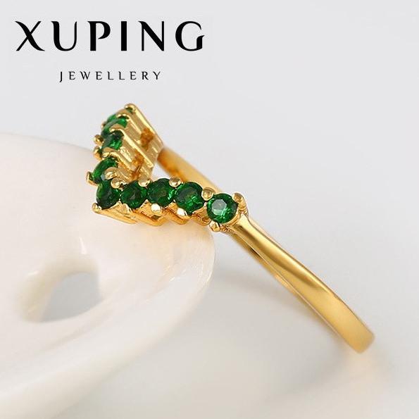 "XUPING Кольцо Позолота 24к ""Виктория"" с зелеными камнями Размер 16"