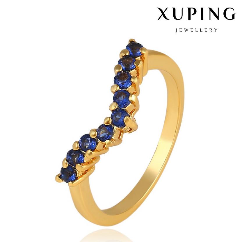 """XUPING Кольцо Позолота 24к """"Виктория"""" с синими камнями Размер 16"""