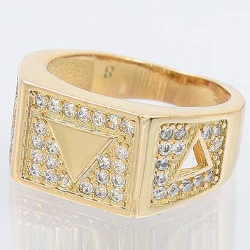 XUPING Перстень Позолота 18к триугольная вставка с цирконами Размер 18.5