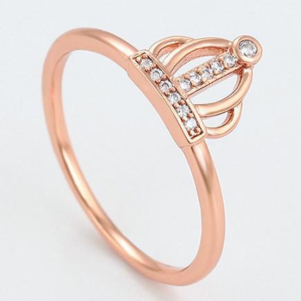 XUPING Кольцо Позолота РО Корона с белыми цирконами Ширина 0.9см, Размер 18.5