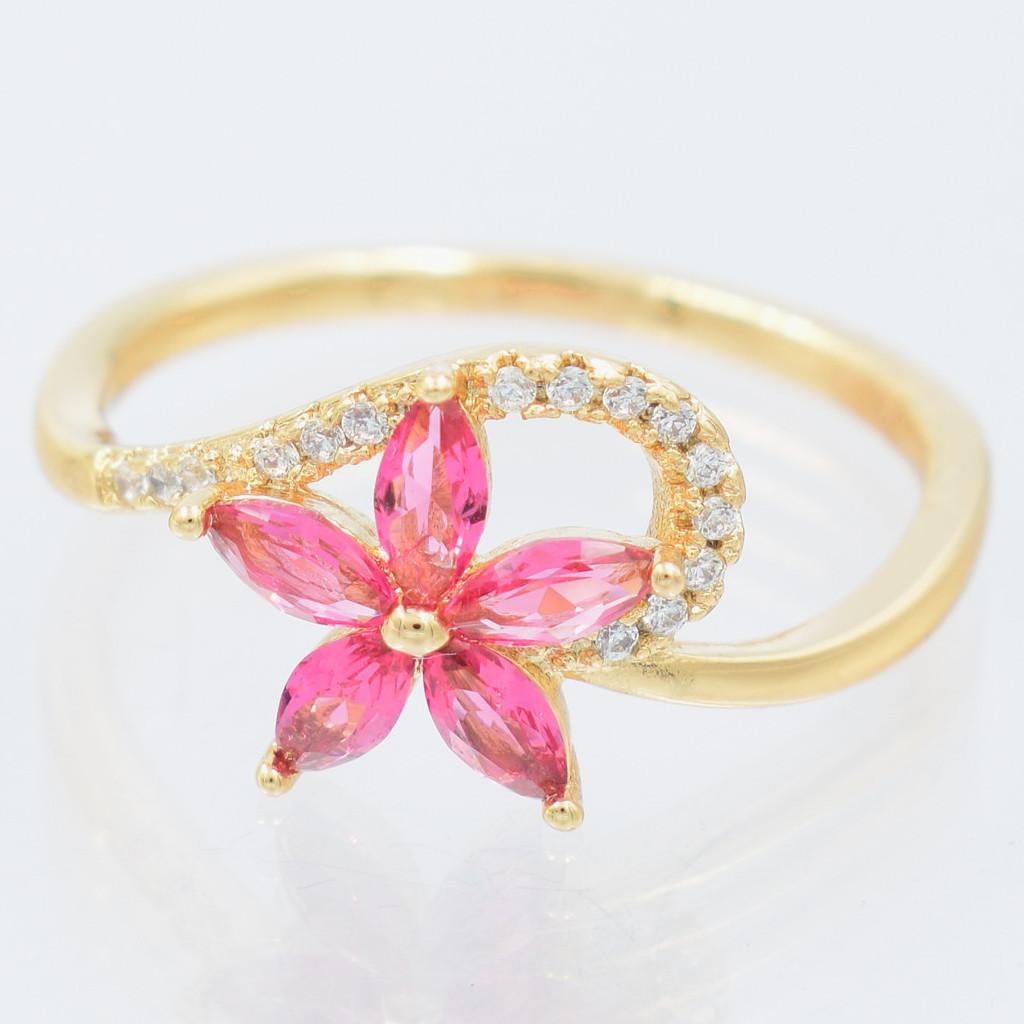 XUPING Кольцо Позолота 18к цветочек с малиновыми цирконами Размер 16.5