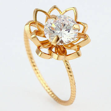 XUPING Кольцо Позолота 18к цветочек с белым цирконом Размер 16.5