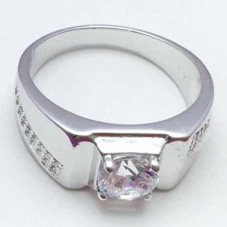 XUPING Перстень Родий с белыми цирконами Ширина 0.8см, Размер 20