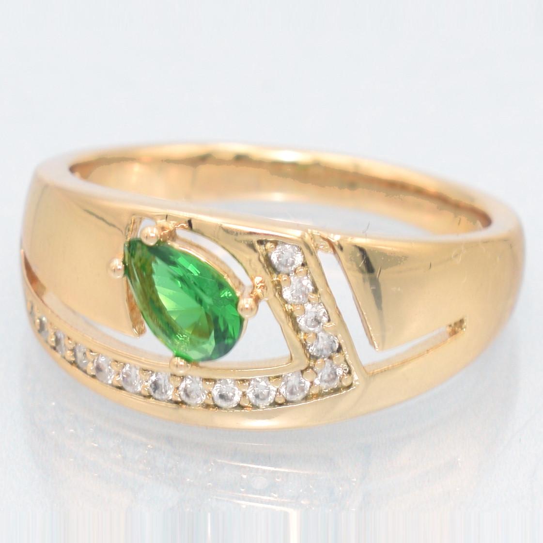 XUPING Кольцо Позолота 18к абстракция с зеленой капелькой Ширина 0.9см, Размер 16