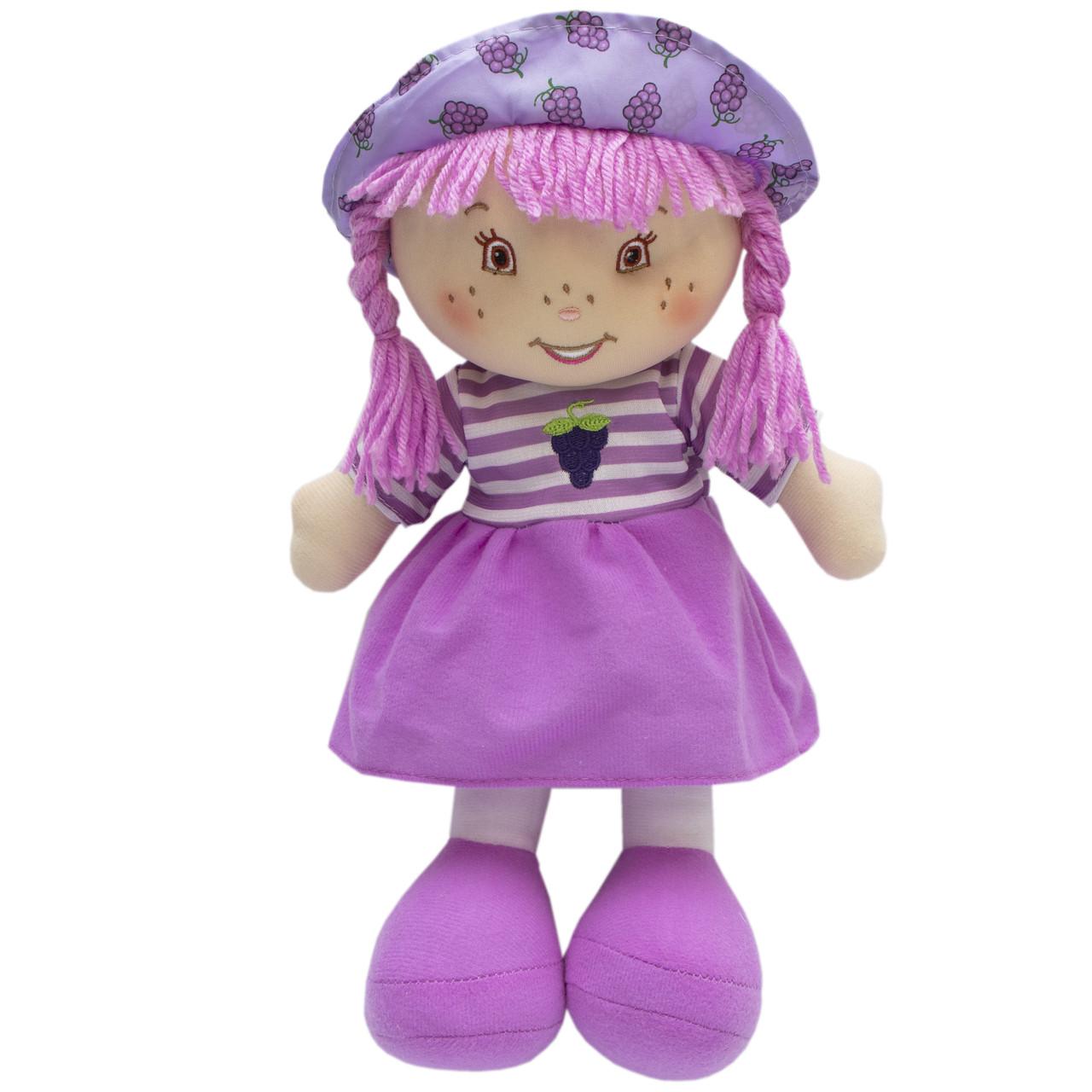Мягкая игрушка кукла с вышитым лицом, 36 см, фиолетовое платье (860876)
