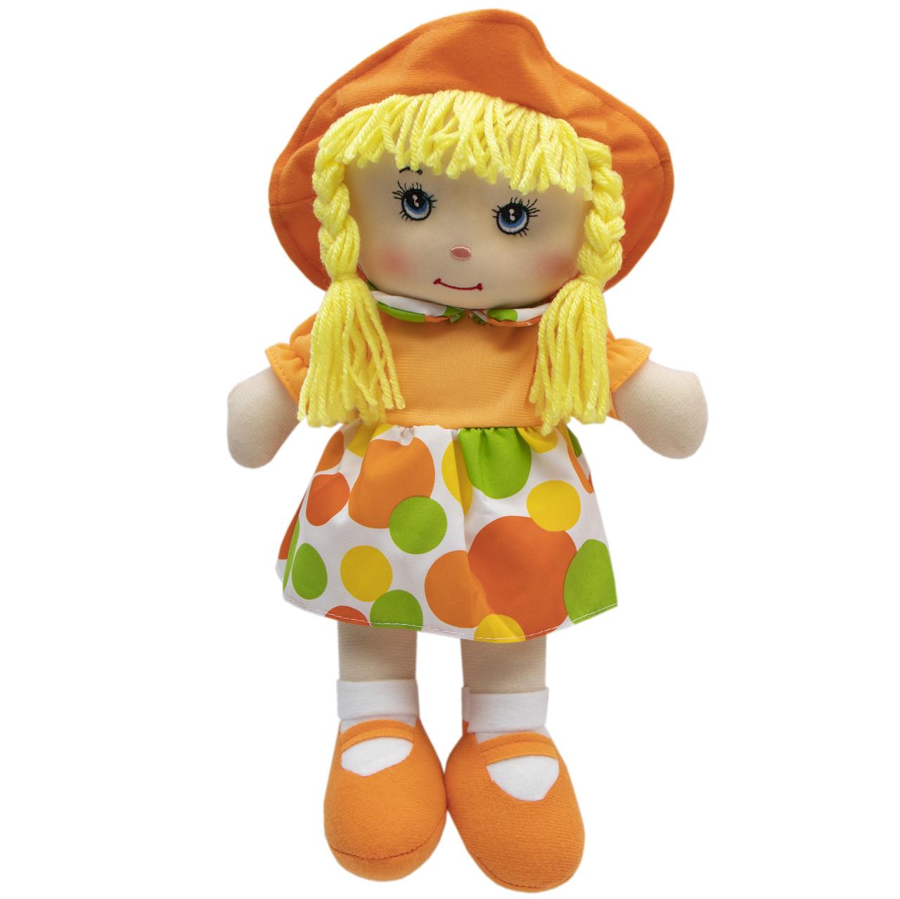 Мягкая игрушка кукла с вышитым лицом, 36 см, оранжевое платье (860906)