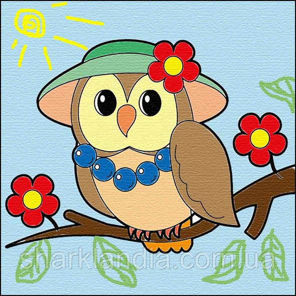 Детская картина по контурам Мудрая сова 25*25см Барви Раскраски Роспись по холсту