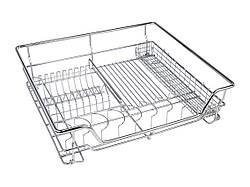 Сушка для посуду фасад 600 висувна з доводчиком GIFF хром (1 полку і 1 піддон)