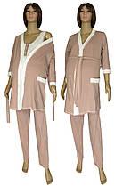 Пижама и халат для беременных и кормящих, в роддом 19016 Mindal Light коттон Пудровый