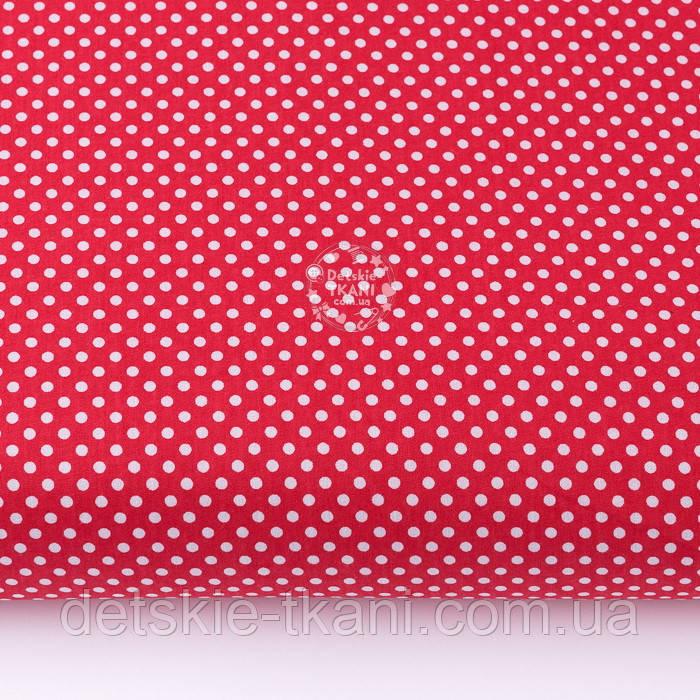 """Тканина бавовняна """"Пунктирний горошок"""" білий на червоному (№3300)"""
