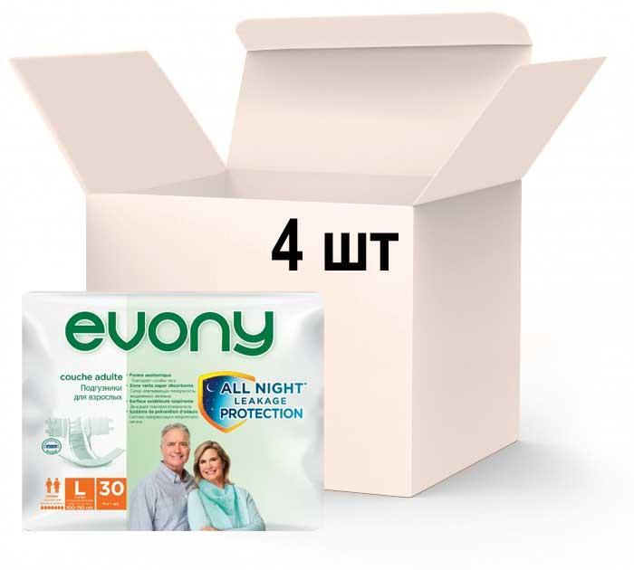 Упаковка подгузников для взрослых Evony 3 Large 4 пачки х 30 шт (8690536804085)