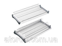 Посудосушитель Т4 фасад 700 GIFF нержавіюча сталь (2 полиці, 2 піддона і 4 кріплення) з алюмінієвою рамкою