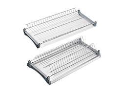 Сушка для посуду Т4 фасад 500 GIFF нержавіюча сталь (2 полиці, 2 піддона і 4 кріплення) з алюмінієвою рамкою