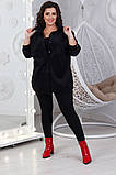 Женская кашемировая куртка рубашка батал розовая черная, фото 4