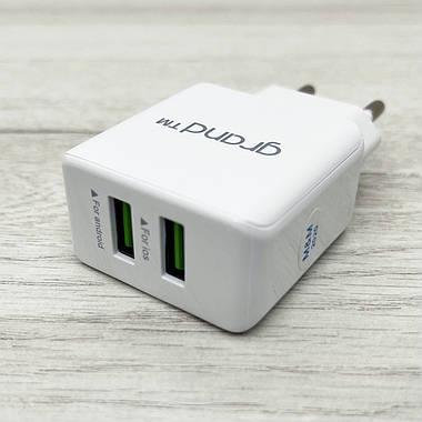 Сетевое зарядное устройство Grand Dual USB 2.1А + кабель Type-C GH-C01 (белое), фото 2