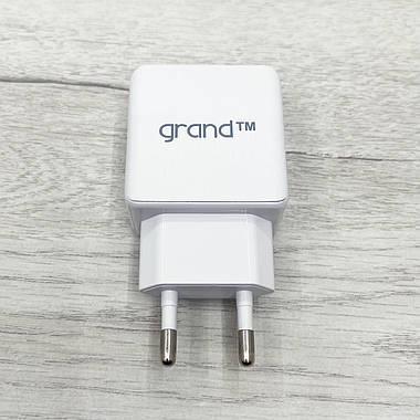 Сетевое зарядное устройство Grand Dual USB 2.1А + кабель Type-C GH-C01 (белое), фото 3