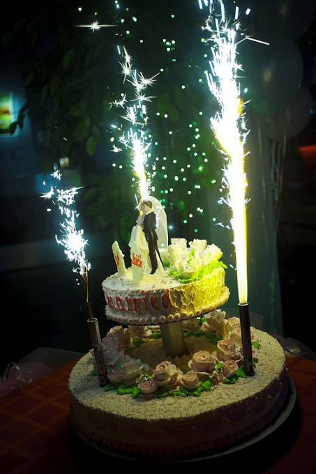 цветные фейерверки для торта
