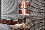 Декоративна 3D панель самоклейка під цеглу Срібло 700х770х3мм, фото 6