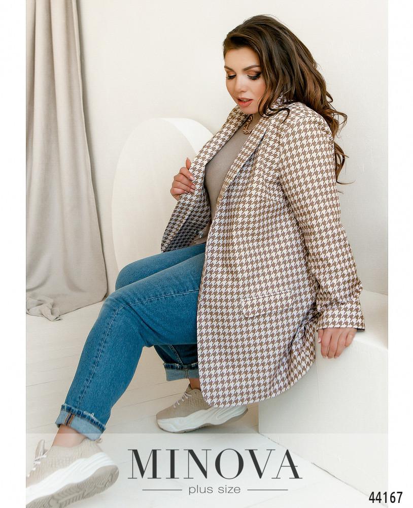 """Чудовий жіночий бежевий піджак принт """"гусяча лапка"""", великого розміру від 48 до 62"""